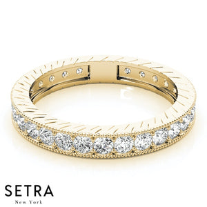 VINTAGE 14K ROUND CUT DIAMOND CHANNEL SET ETERNITY WEDDING BAND