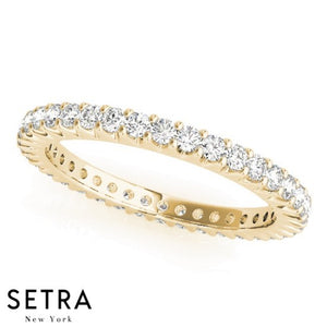 14K FINE YELLOW GOLD DIAMONDS ETERNITY WEDDING BAND RING