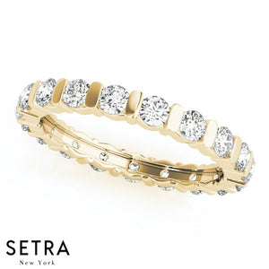 18K FINE GOLD ROUND CUT DIAMONDS PRONG SET ETERNITY WEDDING BAND RINGS