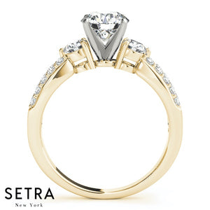 3 STONE ROUND CUT DIAMONDS 14K FINE GOLD ENGAGEMENT RING
