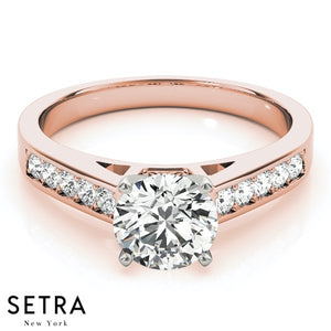 PETITE DIAMOND ENGAGEMENT RINGS SINGLE ROW PRONG SET 14K GOLD
