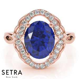 CLASSIC RIGHT HAND 18kt FINE ROSE GOLD HALO DIAMONDS & SAPPHIRE RING