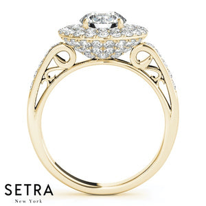 14K FINE GOLD ROUND CUT DIAMOND IN ROUND HALO DOUBLE ROW ENGAGEMENT RING