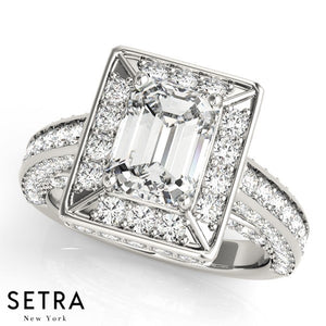 14K ENGAGEMENT RING FOR EMERALD CUT DIAMOND HALO