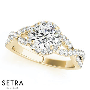 14K FINE GOLD ROUND CUT DIAMOND IN ROUND HALO SPLIT SHANK ENGAGEMENT RING