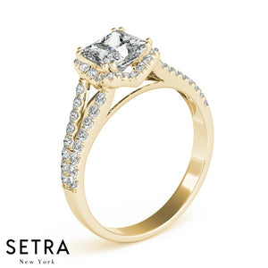 14K GOLD DIAMONDS ENGAGEMENT RINGS HALO FOR SQUARE & CUSHION