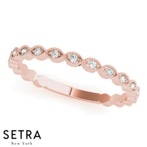 14K FINE PINK THIN ELEGANT STACKABLE DIAMOND BAND RING