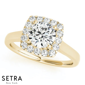 14K FINE GOLD ROUND CUT DIAMOND IN SQUARE HALO ENGAGEMENT RING