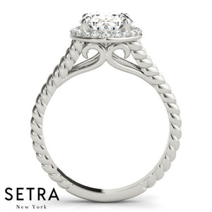1.00ct TWISTED SPLIT BAND OVAL CUT DIAMOND HALO ENGAGEMENT 14kt GOLD