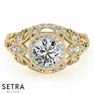 ANTIQUE SEMI - MOUNT14K FINE GOLD ROUND CUT DIAMOND ENGAGEMENT RING