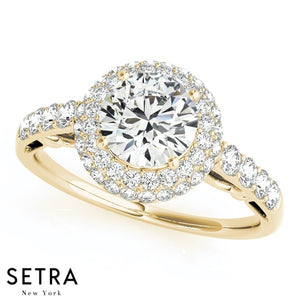 14K FINE GOLD ROUND CUT DIAMOND IN ROUND DOUBLE ROW HALO ENGAGEMENT MICRO-PAVE SETTING RING