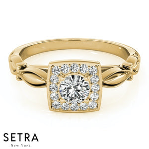 VINTAGE SEMI MOUNTS DIAMONDS ENGAGEMENT HALO 14K GOLD RINGS