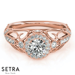 ANTIQUE SEMI-MOUNT HALO STYLE ENGAGEMENT 14K ROSE GOLD RING