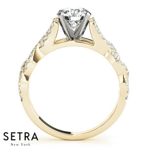 14K FINE GOLD ELEGANT LINK CHANE ENGAGEMENT DIAMONDS RING