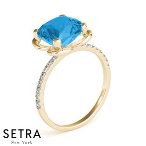 Cushion Cut Blue Topaz & Diamonds 14kt Gold Ring Micro-Pave Setting