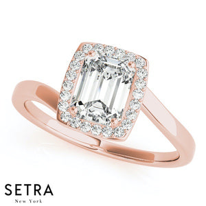 BYPASS STYLY SEMI-MOUNT HALO STYLE EMERALD CUT ENGAGEMENT 18K ROSE GOLD RING