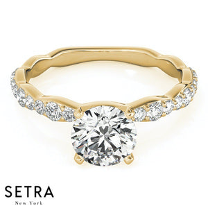 14K FINE GOLD SEMI-MOUNTS ENGAGEMENT RING SINGLE ROW PRONG SET