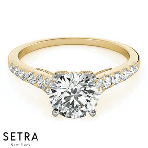 SINGLE ROW DIAMOND ENGAGEMENT RING 14K GOLD