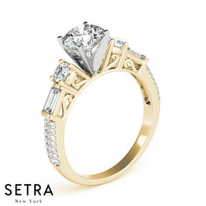 BAGUETTE & ROUND DIAMOND ENGAGEMENT 14K GOLD RING