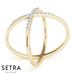 OPEN BEND WITH ''X'' DESIGN BAR DIAMOND RING 14K GOLD
