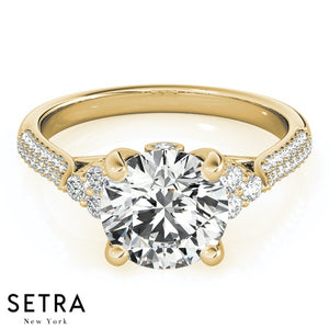 14K FINE GOLD ELEGANT MICRO PAVE SET ENGAGEMENT DIAMONDS RING