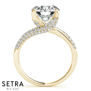 BYPAS 14K FINE GOLD ELEGANT MICRO PAVE SET ENGAGEMENT DIAMONDS RING