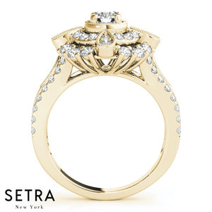 Renoir Cathedral Double Halo Engagement Ring