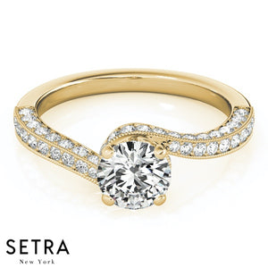 14K FINE GOLD ROUND CUT DIAMOND BYPASS ENGAGEMENT RING