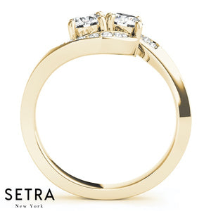 14K Gold Forever Us Two Stone Style Engagement rings Round Cut Diamonds