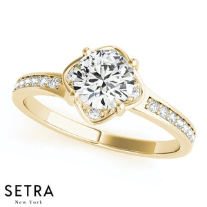 14K FINE GOLD ROUND CUT DIAMONDS ENGAGEMENT RING