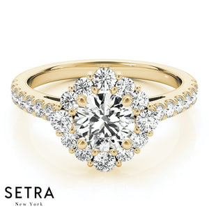 ANTIQUE ROUND CUT DIAMONDS ENGAGEMENT RING 14K YELLOW GOLD