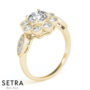 ANTIQUE SEMI-MOUNT HALO STYLE ENGAGEMENT 14K YELLOW GOLD RING
