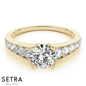 14K FINE GOLD CLASSIC ENGAGEMENT DIAMONDS RING SINGLE ROW