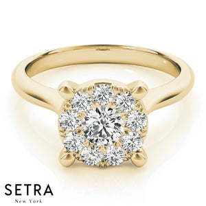 DIAMOND ENGAGEMENT RING HALO ROUND 14K GOLD RING
