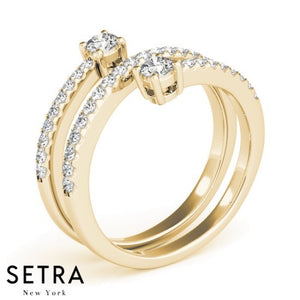 Twisted Open Shank Diamond Ring 14kt Gold