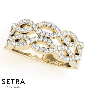 Double Twisted Shank Diamond Ring 14kt Gold