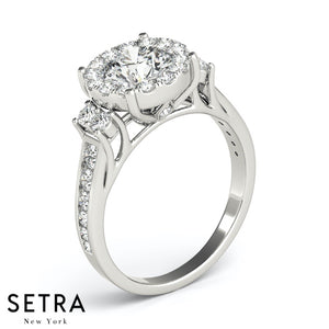 ILLUSION SETTING ENGAGEMENT RING HALO ROUND