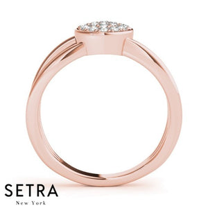 Flat Top Open Shank 14k Fine Rose Gold Diamond Micro-Pave Setting Ring