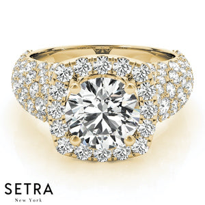 14K GOLD HALO DIAMOND ENGAGMENT RING