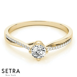 14K FINE GOLD CLASSIC OPEN SHANK ENGAGEMENT DIAMONDS RING