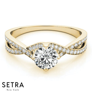 TWISTED OPEN DIAMOND ENGAGEMENT 14KGOLD RING
