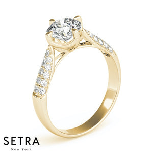 MICRO-PAVE SETTING DIAMOND ENGAGEMENT RING 14K GOLD