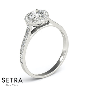 CLASSIC ELEGANT 0.40 CT DIAMONDS ROUND CUT ENGAGEMENT RING HALO