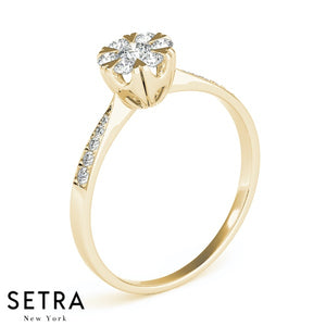 CLASSIC ELEGANT DIAMONDS ROUND CUT ENGAGEMENT HALO RING 14K GOLD