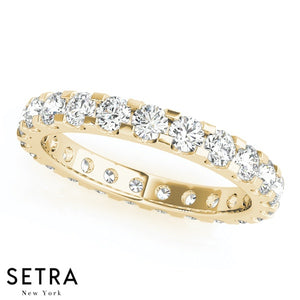 ROUND CUT DIAMONDS ETERNITY WEDDING BAND RING 14kt GOLD