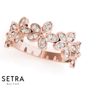 Stackables Flowers Style Setting Diamond Ring 14kt Fine Rose Gold