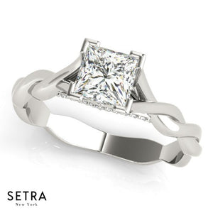 Twisted Open Band Engagement For Center Princess Cut Diamond 14kt Gold Gold