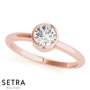 1/3ct CLASSIC DIAMOND SOLITAIRE BEZEL SET ENGAGEMENT 14kt FINE ROSE GOLD