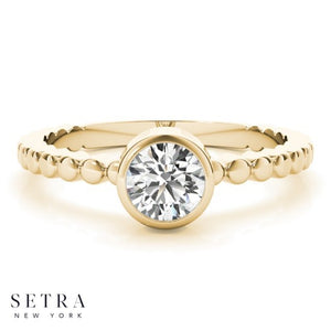 CLASSIC DIAMOND SOLITAIRE BEZEL ENGAGEMENT 14kt FINE GOLD