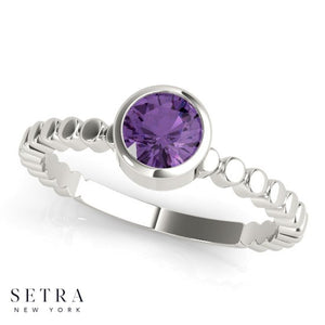 Get Engaged With Your Birth Stone 14kt Gold & Amethyst